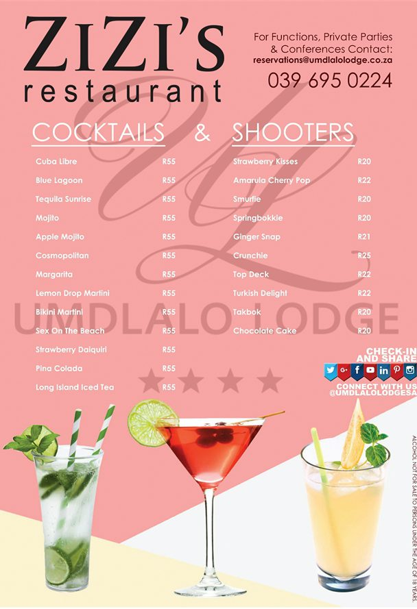 We have all your favourite Cocktails!