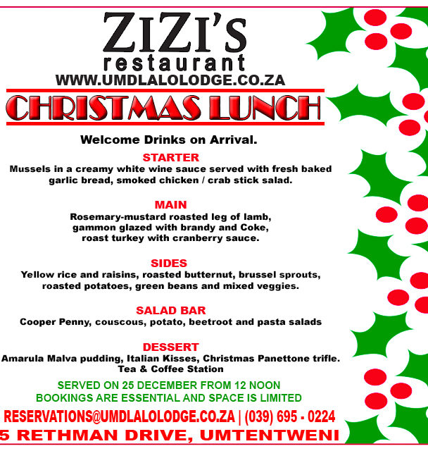 Christmas Lunch Menu 2016